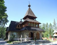 Church of SAint anthony in Zakopane in Poland. Roman Catholic church of Saint Anthony in Zakopane in Poland. The church built in 1984. Photo taken during sunny Stock Image