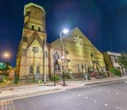 Church of Saint Barnabas in London at night Stock Image