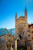 Church of Saint Bartholomew in the central square of Soller Royalty Free Stock Photo