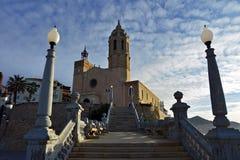Church of Saint Bartholomew and Saint Tecla in Sitges. Spain. Church of Saint Bartholomew and Saint Tecla in the early summer morning. Sitges, Spain Stock Image