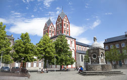 Church of Saint Bartolomy in Liege. Liege, Belgium - May 22, 2014: Square and Church of Saint Bartolomy in Liege, Belgium Stock Photo
