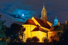 Church of Saint Benson at night, Warsaw, Poland. Royalty Free Stock Photos