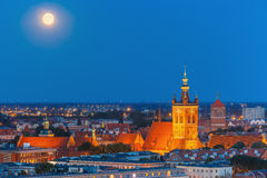 Church of Saint Catherine at night, Gdansk, Poland Royalty Free Stock Images