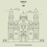 Church of Saint Cyril and Methodius in Burgas, Bulgaria. Landmark icon royalty free illustration