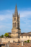 Church of Saint-Emilion, Gironde, Aquitaine, France. Church of Saint-Emilion. The town is a UNESCO World Heritage site stock photo