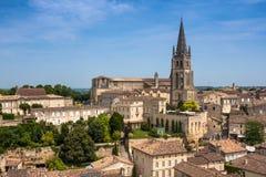 Church of Saint-Emilion, Gironde, Aquitaine, France. Church of Saint-Emilion. The town is a UNESCO World Heritage site stock image