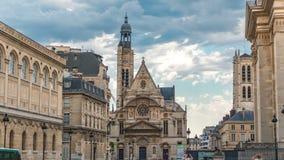 Church of Saint-Etienne-du-Mont timelapse in Paris near Pantheon. stock video footage