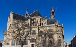 The church of Saint Eustache is considered a masterpiece of late Gothic architecture, Paris, France. The church of Saint Eustache in Paris is considered a Royalty Free Stock Photo