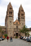 The Church of Saint Faith in Selestat city in France. The Church of Saint Faith of Selestat is a major Romanesque architecture landmark in the Romanesque Road of stock images