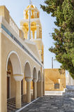 Church of Saint George Facade in Oia Stock Images