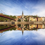 Church of Saint George with its reflection in central view in Ly Stock Photos