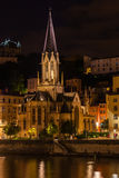 The Church Saint George in Lyon, France at night Royalty Free Stock Photos