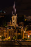 The Church Saint George in Lyon, France at night Royalty Free Stock Images