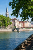 Church of Saint Georges and footbridge, Lyon, France. Stock Image