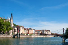 Church of Saint Georges and footbridge, Lyon, France. Stock Photo