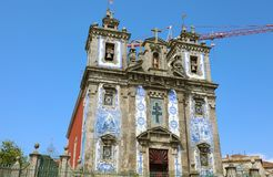 Church of Saint Ildefonso in Porto old town, built during the 17th century; the facade with two towers royalty free stock photography