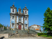 Church of Saint Ildefonso in Porto, Portugal. Porto, Portugal - June 24, 2016. Principal facade of Igreja de Santo Ildefonso church in Porto, Portugal stock image