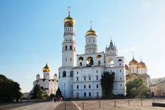 Church of Saint Ioann Lestvichnik and Ivan the Great Bell Tower, Kremlin, Moscow. Church of Saint Ioann Lestvichnik and Ivan the Great Bell Tower complex stock photo