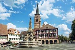 The church of Saint Johannes and Saint Martin, Schwabach, German. The church of Saint Johannes and Saint Martin with square, Schwabach, Bavaria, Germany. Travel Stock Image