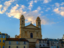 Church of Saint John Baptist. Towers of St John Baptist Church over Bastia Royalty Free Stock Image