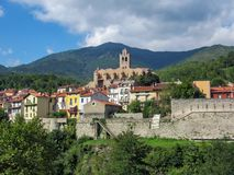 The church of Saint-Juste-et-Sainte-Ruffine in medieval walled town Prats-de-Mollo-la-Preste, Pyrenees-Orientales in southern. The church of Saint-Juste-et royalty free stock photo