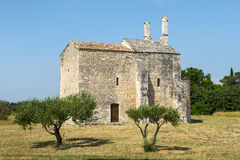 Church of Saint-Laurent. (Gard, Languedoc-Roussillon, France), medieval building royalty free stock photography