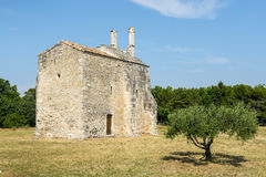 Church of Saint-Laurent. (Gard, Languedoc-Roussillon, France), medieval building Royalty Free Stock Photo