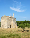 Church of Saint-Laurent. (Gard, Languedoc-Roussillon, France), medieval building Stock Photos