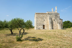 Church of Saint-Laurent. (Gard, Languedoc-Roussillon, France), medieval building Royalty Free Stock Images
