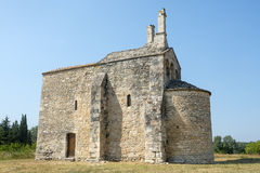 Church of Saint-Laurent. (Gard, Languedoc-Roussillon, France), medieval building Stock Photography