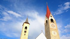 Church in Saint Lorenzen, Puster Valley, South Tyrol, Italy stock video footage