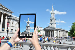 Church of Saint Martin on the screen of a tablet pc Stock Photography