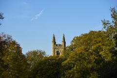 English church tower poking up from behind trees stock photo