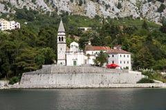 Church of Saint Matthew in Dobrota, Montenegro. View on the Church of Saint Matthew from the sea, town Dobrota, Montenegro Stock Photo