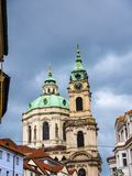 The Church of St Nicolas near Prague Castle in the Czech Republic. The Church of Saint Nicholas is a Baroque church in the Lesser Town of Prague. It was built royalty free stock image