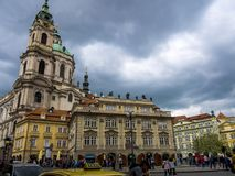 Church of St Nicholas in Lesser Town or old town of Prague in the Czech Republic. The Church of Saint Nicholas is a Baroque church in the Lesser Town of Prague stock photography