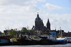 Church of Saint Nicholas - Basiliek van de Heilige Nicolaas on Prins Hendrikkade in Amsterdam, Holland, Netherlands royalty free stock photos