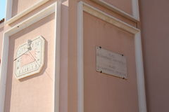 Church of Saint Nicolas, detail, Fontvieille, Principality of Monaco (23rd August 2014). Stock Images