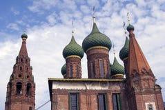 Church of Saint Nicolas in Yaroslavl, Russia. Blue sky with clouds. Stock Photos