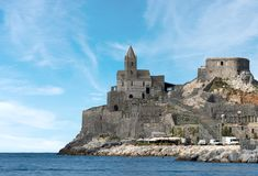 Church of Saint Peter - Porto Venere Italy. The ancient church of San Pietro St. Peter consecrated in 1198 in Portovenere or Porto Venere UNESCO world heritage Royalty Free Stock Image