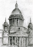 Church in Saint Petersburg. Cathedral in Saint petersbourg, Russia. Isakiev Church stock illustration