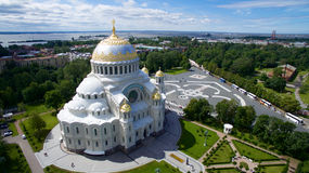 Church in Saint-Petersburg (Russia). Orthodox church in a place named Kronstadt (Russia Royalty Free Stock Photo