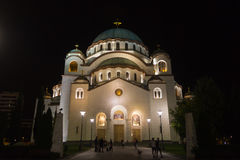 Church of Saint Sava at Night stock image