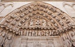 Church of Saint Stephen in Burgos, Spain. Arch above the entrance of the Church of Saint Stephen (Spanish: Iglesia de San Esteban) in Burgos, historic capital of Stock Photo
