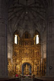 Church of Saint Thomas in Haro (Spain). Principal nave, apse, altar and golden altarpiece of the church of Saint Thomas in Haro (Spain Stock Image