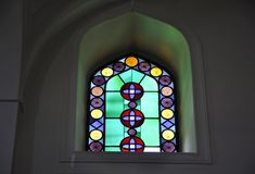 Church of Saint Titus interior stained glass window from Heraklion in Crete island of Greece. Church of Saint Titus or Vezir Mosque interior stained glass window royalty free stock images