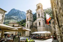Church of Saint Tryphon in the old town of Kotor.Montenegro. Royalty Free Stock Images