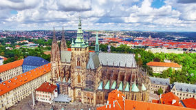 Church Saint Vitus, Ventseslaus and Adalbert and area Lesser Town of Prague. Stock Photo