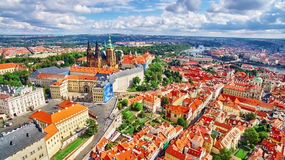 Church Saint Vitus, Ventseslaus and Adalbert and area Lesser Town of Prague. Royalty Free Stock Photo