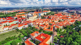 Church Saint Vitus, Ventseslaus and Adalbert and area Lesser Town of Prague. Royalty Free Stock Photography